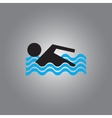 Swimmer icon isolated on gray vector image