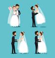 bride and groom set wedding couples romantic vector image