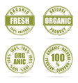 grunge rubber fresh and organic green vector image