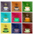 assembly flat shading style icons cup of coffee vector image vector image