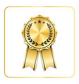 award ribbon gold icon laurel wreath vector image vector image