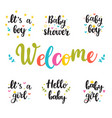 bashower invites hello baboy and girl hand vector image vector image