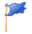 blue flag on wooden stick vector image