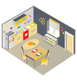 bright isometric kitchen with furniture vector image vector image