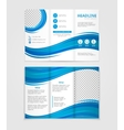 Brochure template design with blue wave elements vector image vector image