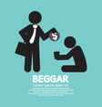 Businessman Donates Coin To The Beggar Illu vector image vector image