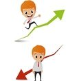 businessman running on the graph vector image vector image