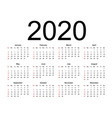 calendar 2020 week starts from sunday business vector image vector image