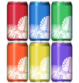cans with leaves on different color background vector image vector image