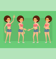 cartoon flat funny sport girl character set vector image vector image