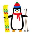cartoon penguin skier vector image
