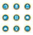 cash benefit icons set flat style vector image
