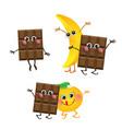 chocolate banana orange characters vector image vector image