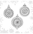 christmas coloring tree decoration baubles line vector image vector image