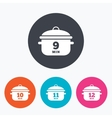Cooking pan icons Boil nine twelve minutes vector image vector image