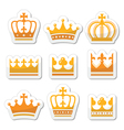 Crown royal family gold icons set vector image vector image