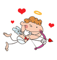 Cupid Closing One Eye While Aiming His Arrow vector image vector image