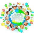 cute kids different nationalities hold earth vector image vector image
