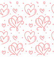 cute monoline hearts seamless pattern vector image vector image