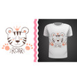 cute tiger - idea for print t-shirt vector image vector image
