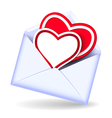 Envelope with two valentine hearts vector image vector image
