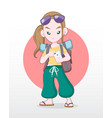 female tourist swiping smartphone finding location vector image