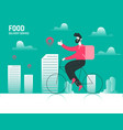 food package delivery bicycle concept vector image vector image