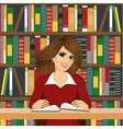 friendly student girl studying in library vector image vector image