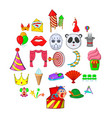 funny park icons set cartoon style vector image vector image