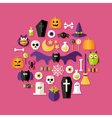 Halloween Flat Icons Set Over Pink vector image vector image
