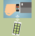 hand with smart wristwatch and smart phone modern vector image