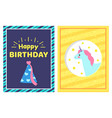 happy birthday greetings cards vector image vector image