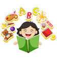 happy girl reading book alone vector image vector image