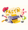 italian food making delicious pasta cartoon vector image vector image