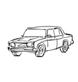 Monochrome hand drawn car on white background vector image vector image