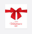 paper sheet with a red ribbon and bow happy vector image
