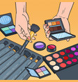 pop art female hands with cosmetics make-up vector image