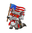 raccoon with red mask and robe is holding an vector image