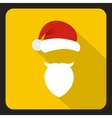 Red hat with pompom with a mustache of Santa Claus vector image vector image