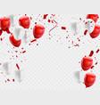 red white balloons confetti concept design vector image vector image