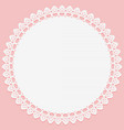 round white napkin with lace on edge on pink vector image vector image