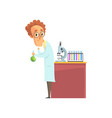 scientist in white coat conducting experiments vector image vector image