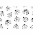 seamless pattern of white different robots vector image vector image