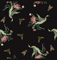 seamless pattern with tulips and wild flowers vector image vector image