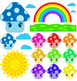 set of cartoon mushrooms of different colors vector image vector image