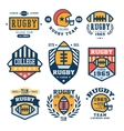 Set of Rugby Emblem in Flat vector image vector image
