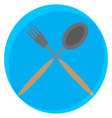 Spoon and fork crossed icon vector image vector image