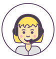 support girl avatar blonde girl with headphone vector image