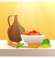 Vegetables And Pitcher Still Life vector image