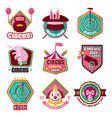 circus flat icons set of clown magic hat vector image